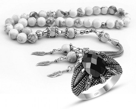 - Özel Kamçılı Havlit Doğaltaş Tesbih ve Gümüş Kartal Pençesi Yüzük Kombini