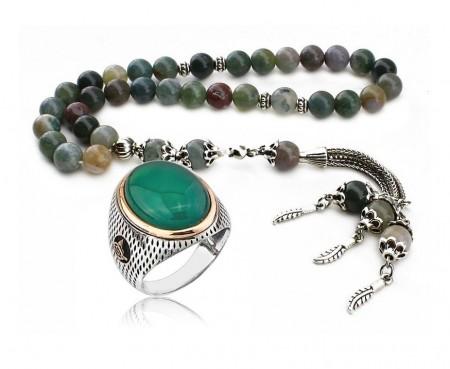 Tesbihane - Özel Kamçılı Hint Akik Tesbih ve Gümüş Yeşil Akik Yüzük Kombini