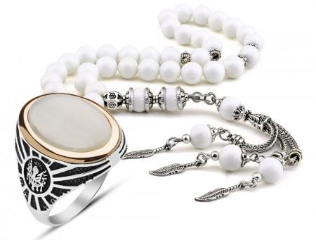 Tesbihane - Özel Kamçılı Sedef Tesbih ve 925 Ayar Gümüş Sedef Taşlı Yüzük