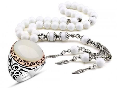 Tesbihane - Özel Kamçılı Sedef Tesbih ve Sedef Taşlı Gümüş Yüzük Kombini
