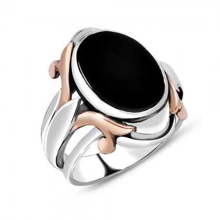Tesbihane - Özel Tasarım Siyah Oniks Taşlı 925 Ayar Gümüş Erkek Yüzük