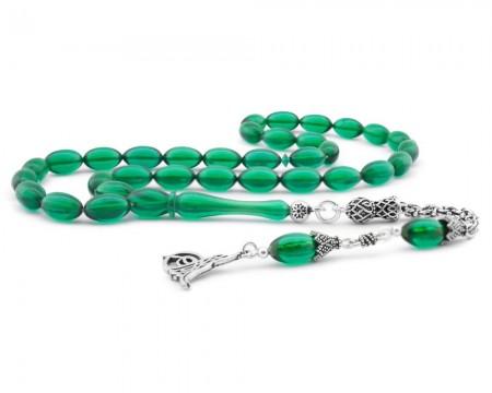Tesbihane - 925 Ayar Gümüş Tuğra Püsküllü Arpa Kesim Yeşil Sıkma Kehribar Tesbih