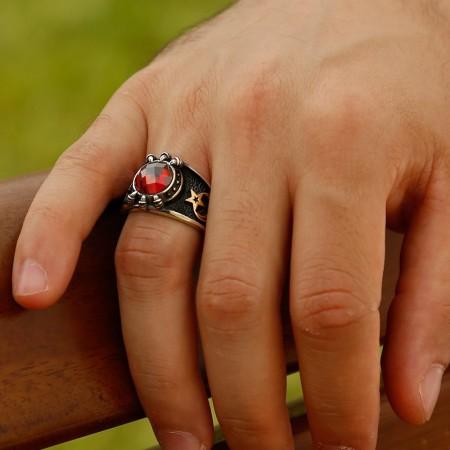 - Özel Tasarım Kırmızı Zirkon Taşlı Gümüş Pençe Yüzük