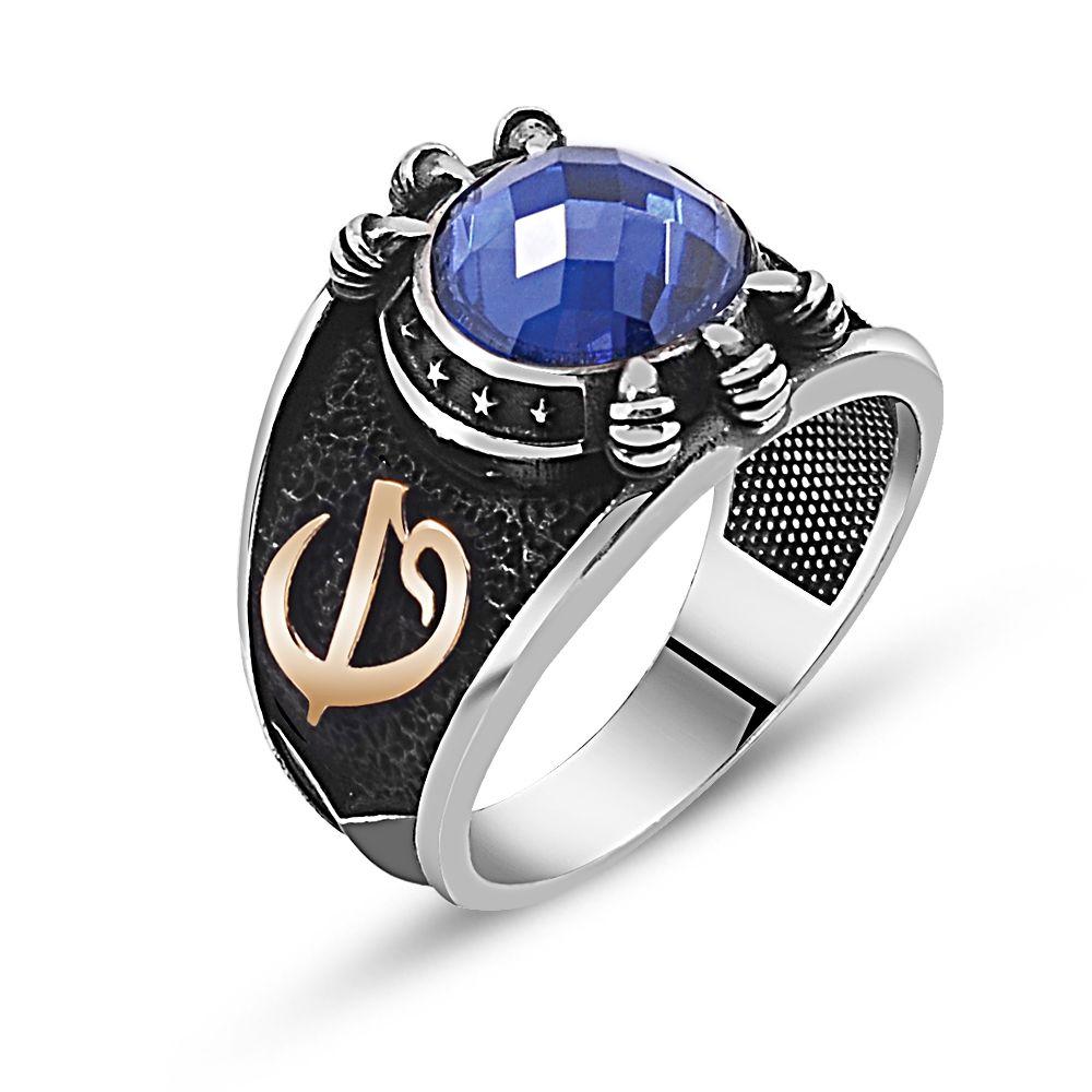 Özel Tasarım Mavi Zirkon Taşlı Gümüş Pençe Yüzük