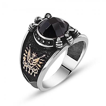 Özel Tasarım Siyah Zirkon Taşlı Gümüş Pençe Yüzük - Thumbnail