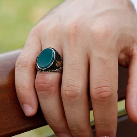 - Özel Tasarım Yeşil Akik Taşlı Gümüş Yüzük