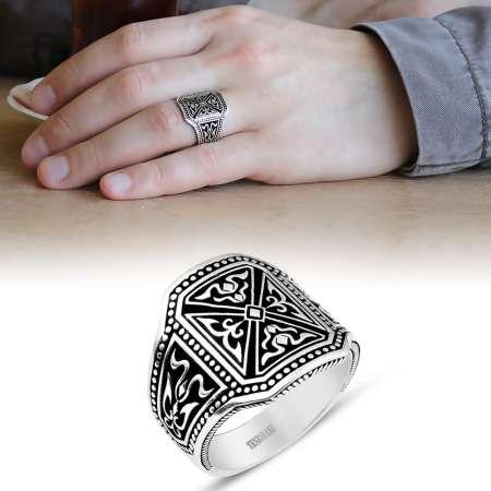 Tesbihane - 925 Ayar Gümüş Pusat Yüzüğü