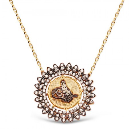 Tesbihane - Rose Kaplamalı Zirkon Taşlı 925 Ayar Gümüş Tuğra Kolye