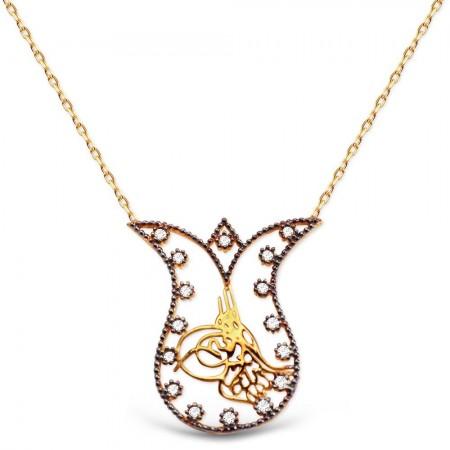 Tesbihane - Rose Kaplı Lale ve Tuğra Tasarım 925 Ayar Gümüş Kolye