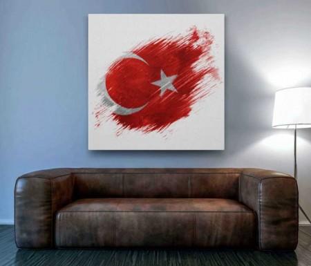 - Sanatsal Türk Bayrağı Desenli Kanvas Tablo