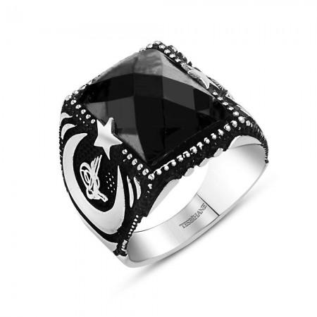 Tesbihane - Sancak Yüzüğü - 925 Ayar Gümüş Siyah Zirkon Taşlı Ayyıldız Yüzük