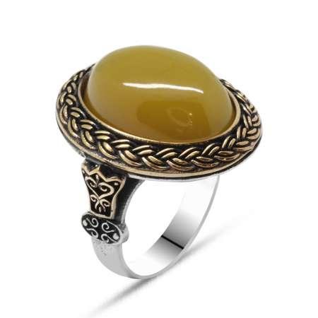 Tesbihane - Sarı Ateş Kehribar Taşlı Oval Tasarım 925 Ayar Gümüş Erkek Yüzük