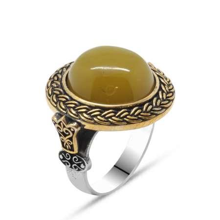Tesbihane - Sarı Ateş Kehribar Taşlı Yuvarlak Tasarım 925 Ayar Gümüş Erkek Yüzük