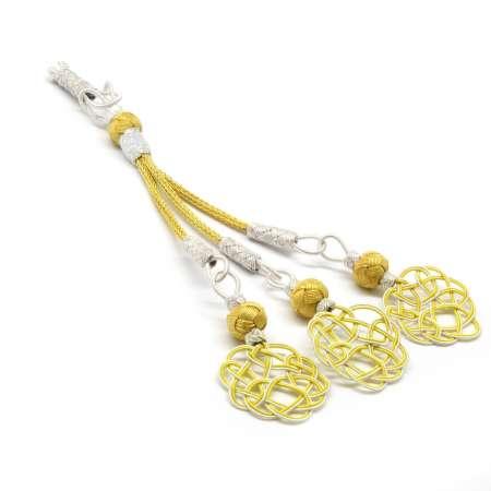 Tesbihane - Sarı-Beyaz Renk 1000 Ayar Gümüş 3'lü Kazaz Püskül