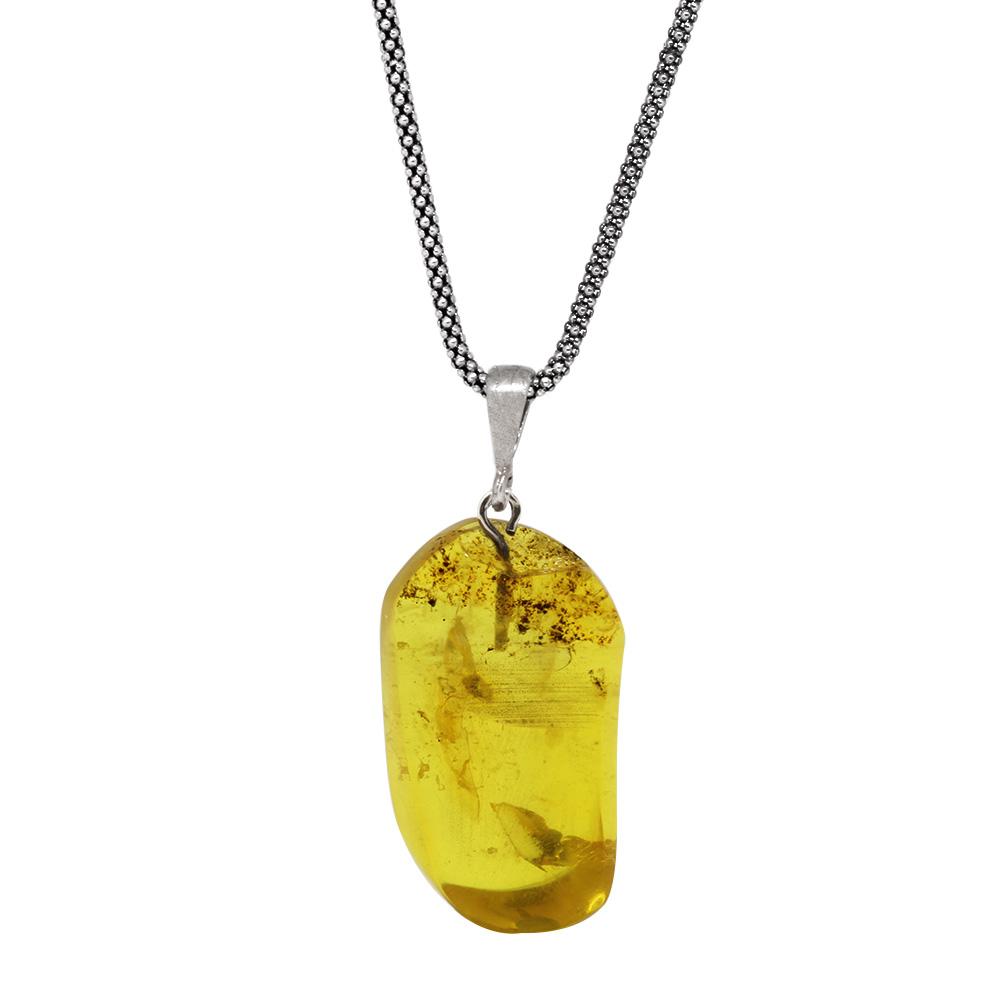 Sarı Renk Orijinal Damla Kehribar Taşlı Kolye (M-1)