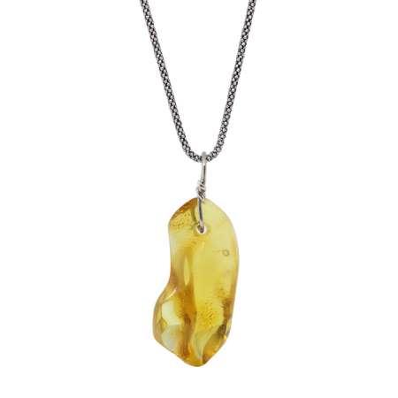 Sarı Renk Orijinal Damla Kehribar Taşlı Kolye (M-1) - Thumbnail