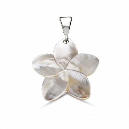 - Sedef Yapım Çiçek Desenli Kolye (Gümüş Zincirli)