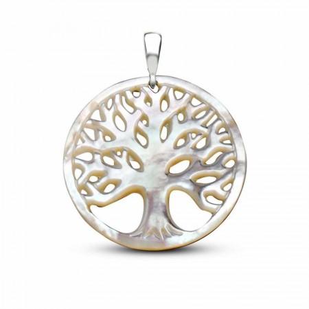 Tesbihane - Sedef Yapım Hayat Ağacı Kolye (Gümüş Zincirli)
