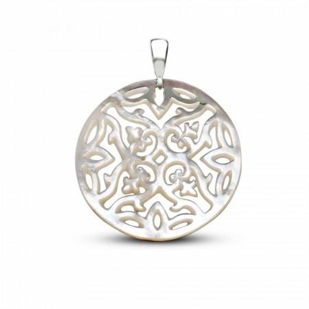 Tesbihane - Sedef Yapım Özel Çiçek Desenli Kolye (Gümüş Zincirli)