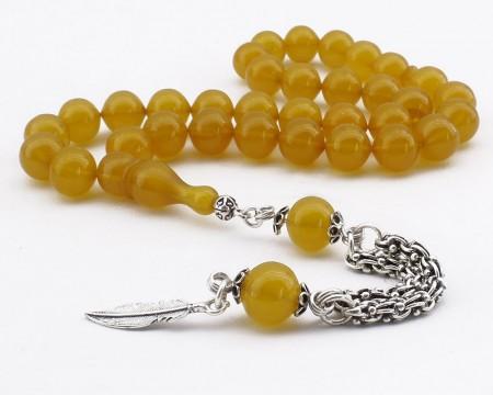 - Sığırcık Kesim Gümüş Yaprak Püsküllü Sarı Sıkma Kehribar Tesbih
