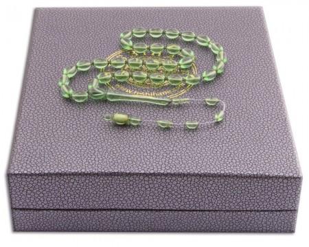 Arpa Kesim Yeşil Ateş Kehribar Tesbih - Hediye Kutulu - Thumbnail