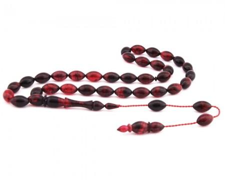 Tesbihane - Usta İşi Arpa Kesim Kırmızı Sıkma Kehribar Tesbih (M-1)