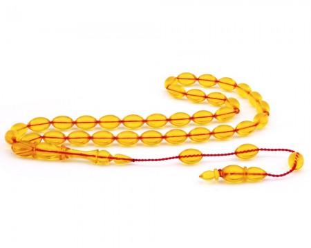 Tesbihane - Usta İşi Arpa Kesim Sarı Ateş Kehribar Tesbih