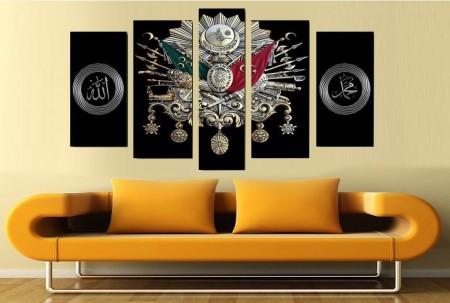 Tesbihane - Siyah Fon Osmanlı Arma Tasarım 5 Parça Kanvas Tablo