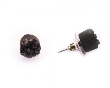 - Siyah Kristal Mineral Doağaltaş Küpe