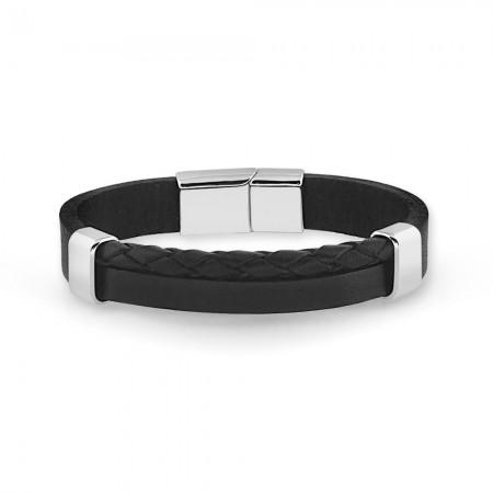 Tesbihane - Hasır Tasarım Çift Sıra Siyah Çelik-Deri Kombinli Erkek Bileklik