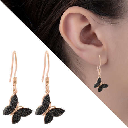 Tesbihane - Siyah Zirkon Taşlı Kelebek Tasarım 925 Ayar Gümüş Bayan Küpe