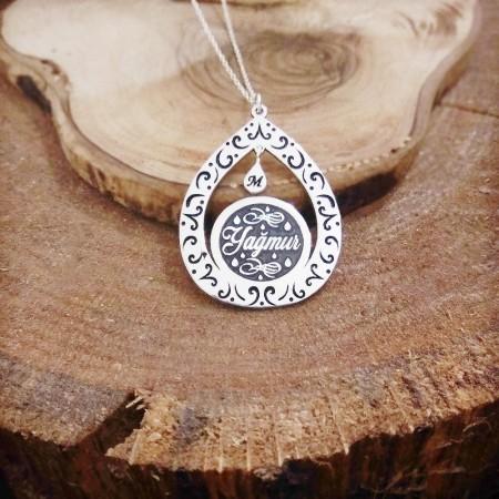 Tesbihane - Damla Tasarım Kişiye Özel İsim Yazılı 925 Ayar Gümüş Bayan Kolye