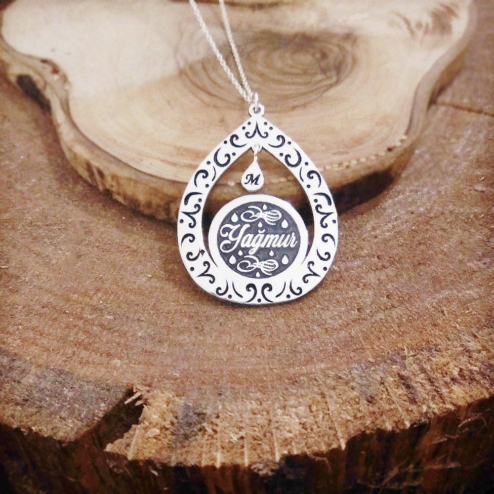 Damla Tasarım Kişiye Özel İsim Yazılı 925 Ayar Gümüş Bayan Kolye