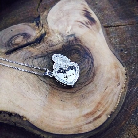- Zirkon Taşlı Açılır Kalp Kişiye Özel İsim Yazılı 925 Ayar Gümüş Bayan Kolye