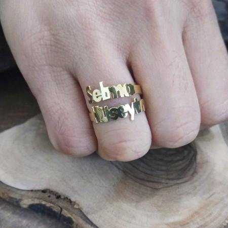 Tesbihane - Kişiye Özel Çift İsim Yazılı 925 Ayar Gümüş Bayan Yüzük