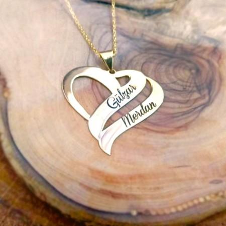 - 925 Ayar Gümüş Çift Kalp Tasarım Kişiye Özel İki İsim Yazılı Kolye