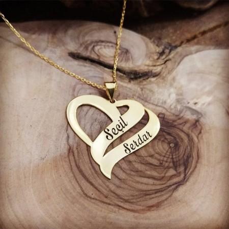 Tesbihane - Çift Kalp Tasarım Kişiye Özel İki İsim Yazılı 925 Ayar Gümüş Kolye
