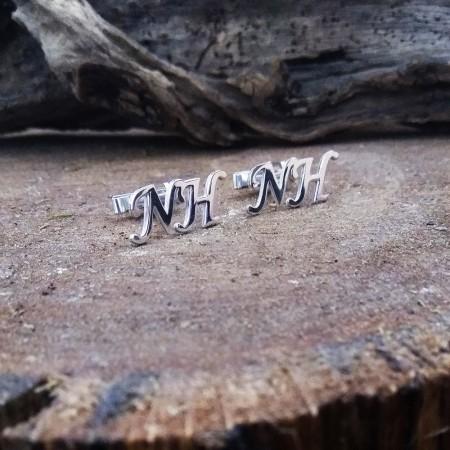 Tesbihane - Kişiye Özel Harf Yazılı 925 Ayar Gümüş Kol Düğmesi
