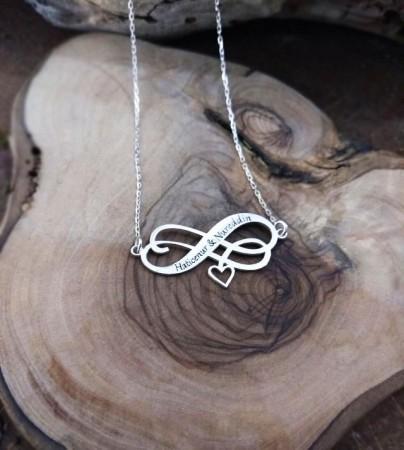 Tesbihane - Sonsuzluk-Kalp Tasarım Kişiye Özel İki İsim Yazılı 925 Ayar Gümüş Kolye