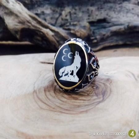 Tesbihane - Kişiye Özel İsim-Resim Motifli Damla İşlemeli Mineli Oval 925 Ayar Gümüş Yüzük