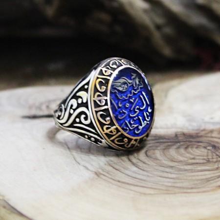 - Arapça İsim Yazılı Elif Vav İşlemeli Mineli 925 Ayar Gümüş Erkek Yüzük