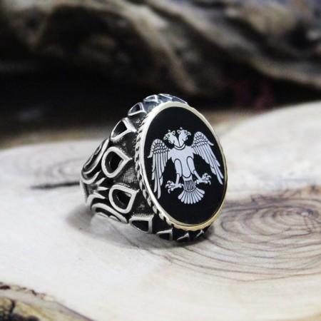 Tesbihane - Kişiye Özel Resim Motifli Damla İşlemeli Mineli 925 Ayar Gümüş Erkek Yüzük