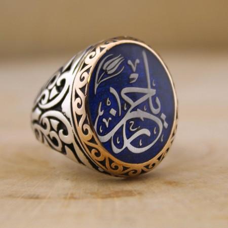 Tesbihane - Kişiye Özel Arapça İsim Yazılı Mineli Oval 925 Ayar Gümüş Erkek Yüzük (M-2)