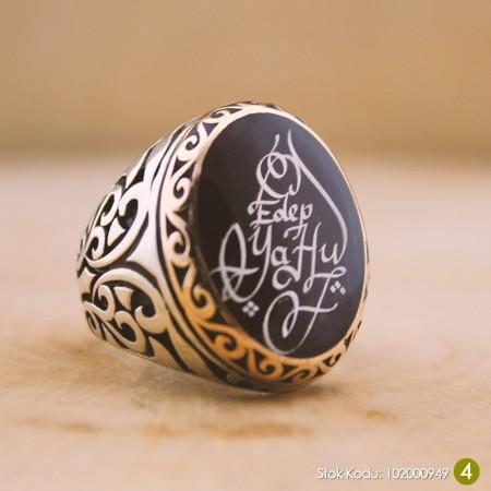 - Kişiye Özel Arapça İsim Yazılı Mineli Oval 925 Ayar Gümüş Erkek Yüzük (M-4)
