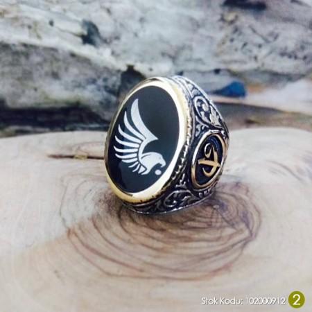 - Kişiye Özel İsim ve Resim Motifli Elif Vav İşlemeli Mineli 925 Ayar Gümüş Erkek Yüzük