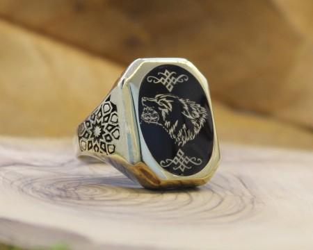 - Siz İsteyin Biz Yapalım - Kişiye Özel Yazılı 925 Ayar Gümüş Yüzük Mine Taş Üzerine İşleme -12-