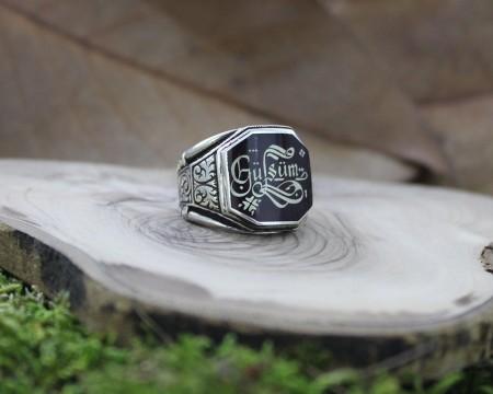Tesbihane - Siz İsteyin Biz Yapalım - Kişiye Özel Yazılı 925 Ayar Gümüş Yüzük Türkçe -2-