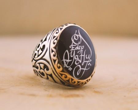 Tesbihane - Siz İsteyin Biz Yapalım - Kişiye Özel Yazılı 925 Ayar Gümüş Yüzük Türkçe -40-