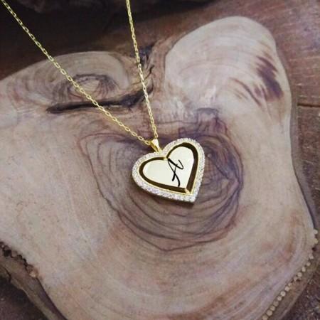 Tesbihane - İç İçe Kalp Tasarım Kişiye Özel İsim Yazılı 925 Ayar Gümüş Bayan Kolye