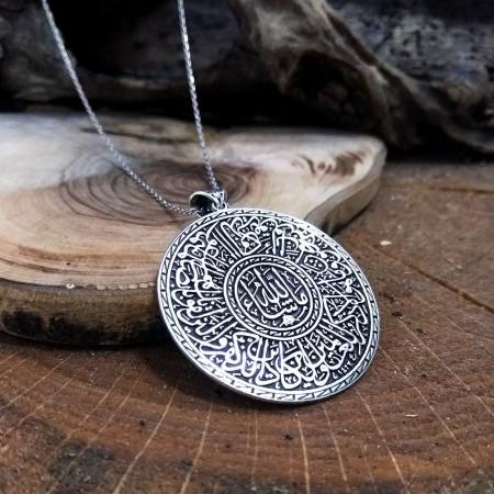 Tesbihane - Madalyon Tasarım Kişiye Özel İsim Yazılı 925 Ayar Gümüş Kolye
